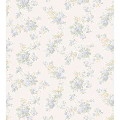 Kitchen and Bath Resource II Blue Mid-Scale Rose Trail Wallpaper Sample
