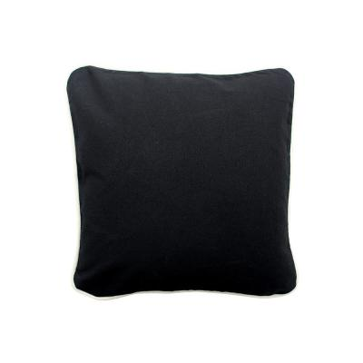Black Solid Cotton 16 in. x 16 in. Throw Pillow