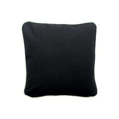 16 in. x 16 in. Black  Standard Pillow with Green Eco Friendly Insert