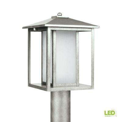 Hunnington 1-Light Outdoor Weathered Pewter Post Light with LED Bulb