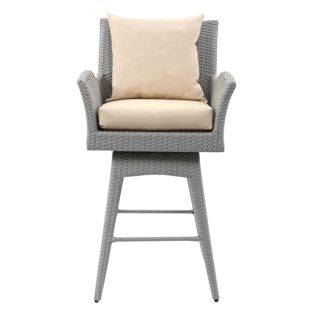 Safavieh Hayes Grey Wicker Outdoor Bar Stool With Beige Cushion