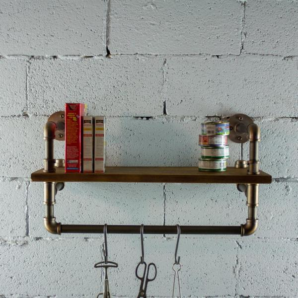 Furniture Pipeline Ann Harbor Industrial 27 in. Brown Wall Display Pipe