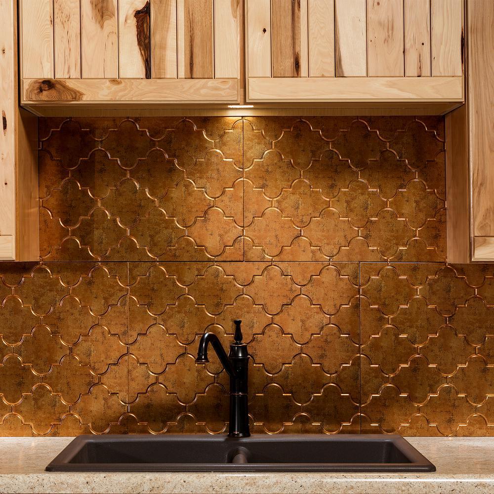 Monaco 18 in. x 24 in. Muted Gold Vinyl Decorative Wall Tile Backsplash 18 sq. ft. Kit