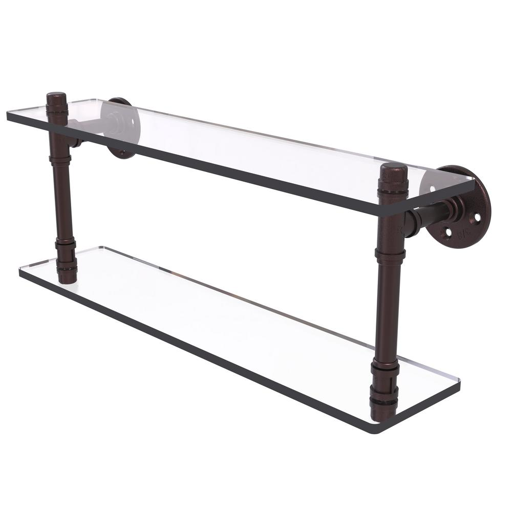 Allied Brass Pipeline Collection 22 in. Double Glass Shelf in Antique Bronze