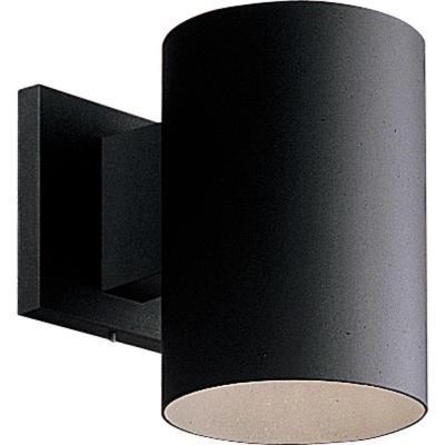 "Progress Lighting Cylinder Collection 5"" Black Modern Outdoor Wall Lantern Light"