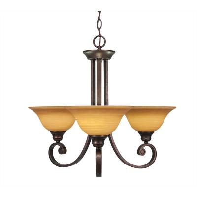 3-Light Bronze Chandelier with Cayenne Linen Glass Shade