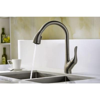 Accent Series Single-Handle Pull-Down Sprayer Kitchen Faucet in Brushed Nickel