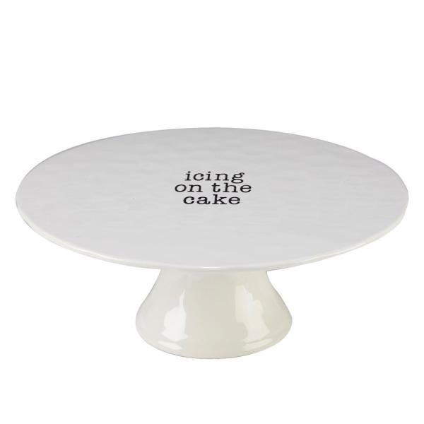 Certified International It's Just Words Multi-Colored 12.75 in. Cake Plate