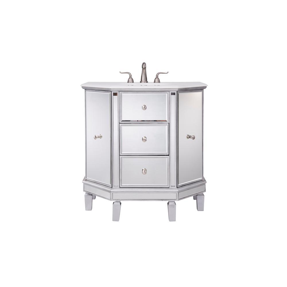 Indio 35 in. Single Bath Vanity w/ 2 Drawers 2 Shelves 2 Doors; Marble Top; Clear Mirror
