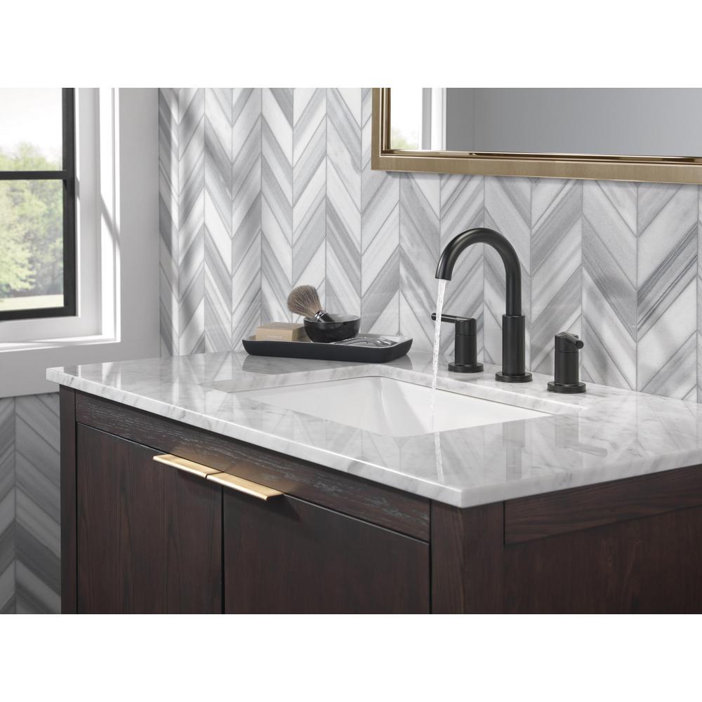 Nicoli J-Spout 8 in. Widespread 2-Handle Bathroom Faucet in Matte Black