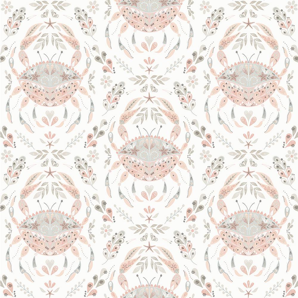 Annapolis Coral Crustation Pink Wallpaper Sample