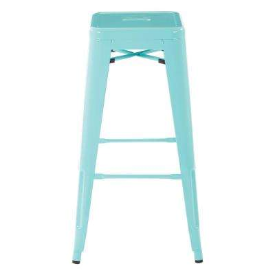 30 in. Mint Green Finish Steel Backless Barstool (2-Pack)