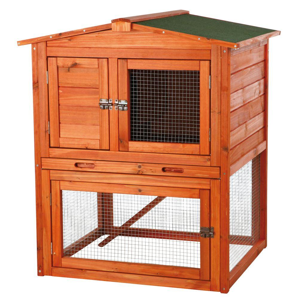 TRIXIE 2.7 ft. x 2.4 ft. x 3.1 ft. Small Rabbit Enclosure with Peaked Roof Hutch