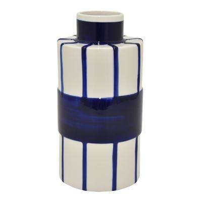 11 in. Blue and White Porcelain Vase -