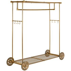 happimess Blair 66 inch Brass 6-Hook Rolling Coat Rack by happimess
