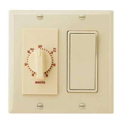 60-Minute In-Wall Dial Timer with Rocker Switch - Ivory