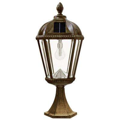 Solar post lighting outdoor lighting the home depot royal bulb series outdoor weathered bronze integrated led solar powered post light on pier base aloadofball Images