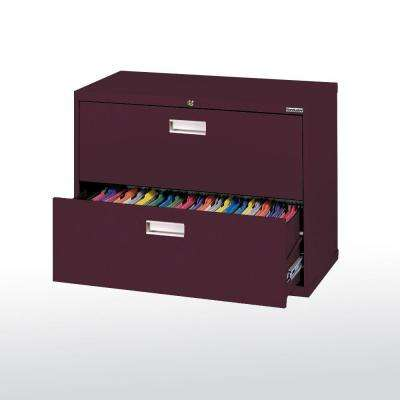 600 Series 36 in. W 2-Drawer Lateral File Cabinet in Burgundy