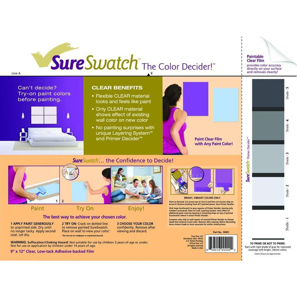 SureSwatch 9 in. x 12 in. Paintable Clear Film-10001 - The Home Depot