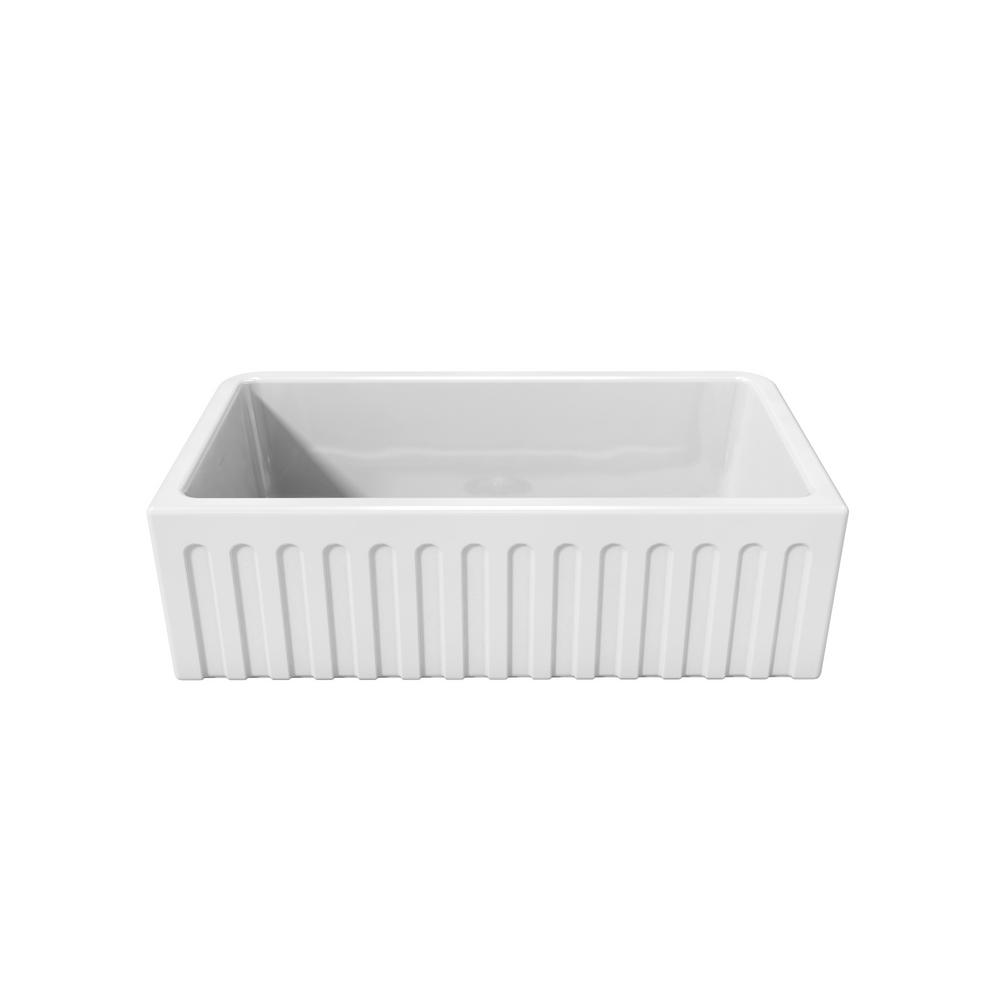 Perfect LaToscana Reversible Farmhouse/Apron Front Fireclay 33 In. Single Bowl  Kitchen Sink In