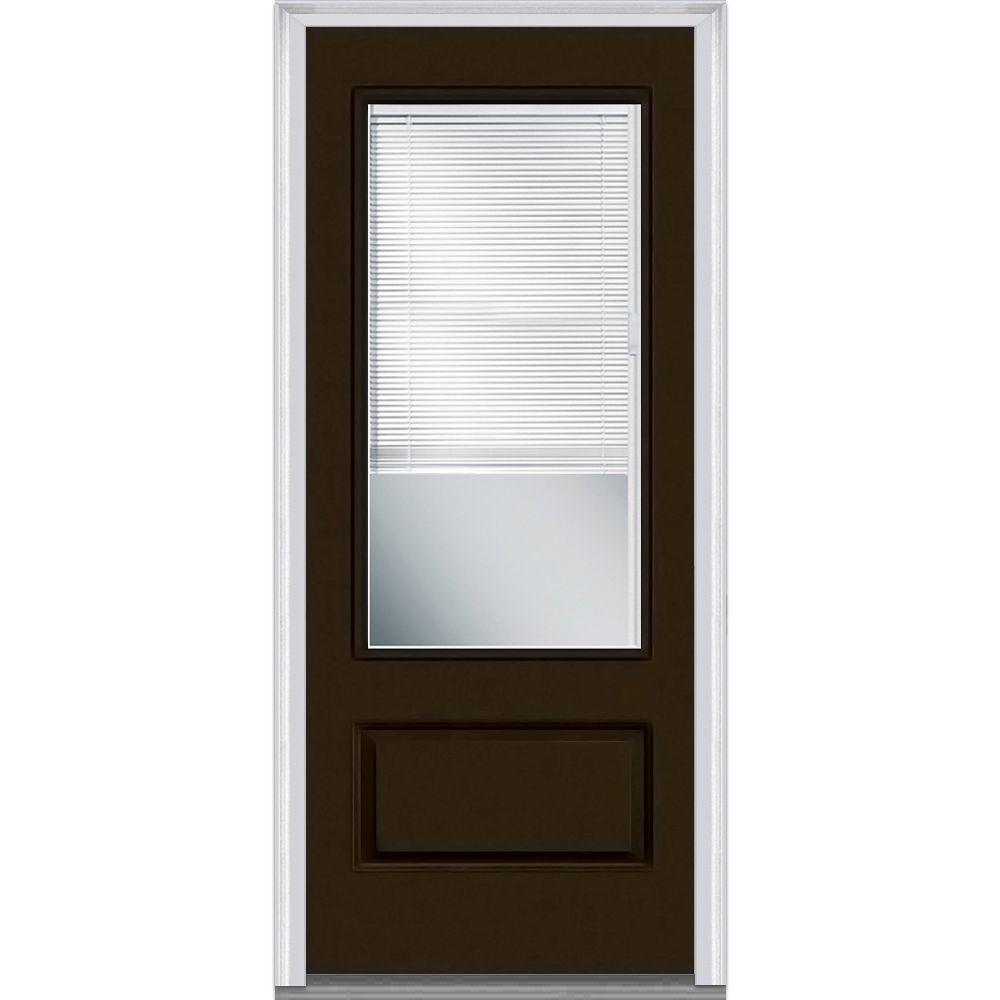 Mmi door 36 in x 80 in internal blinds clear left hand 3 for Front door 6 glass panel