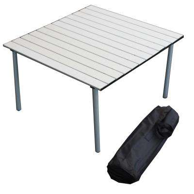 Silver Aluminum Square Outdoor Picnic Table with Bag