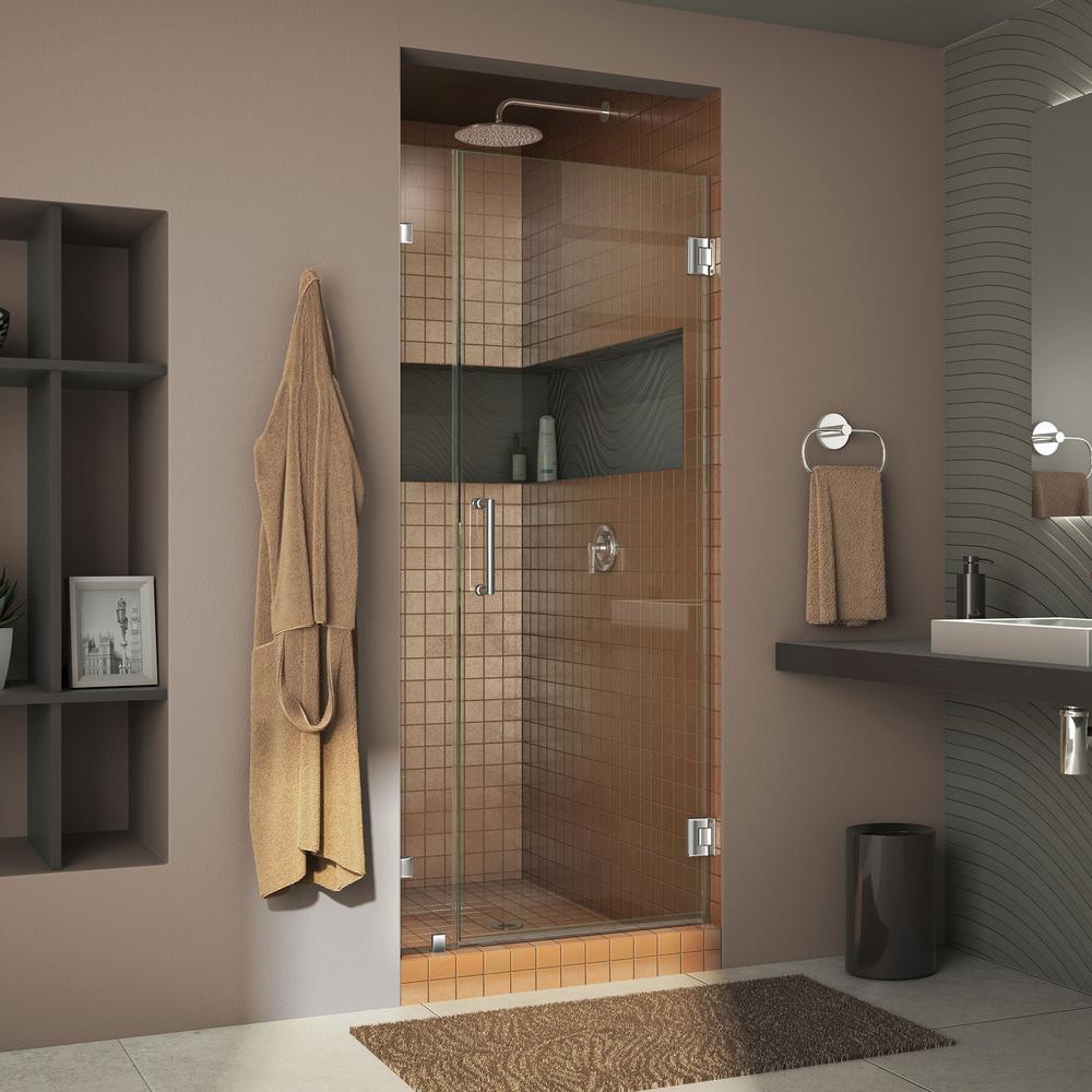 DreamLine Unidoor Lux 32 in. x 72 in. Frameless Pivot Shower Door in Chrome with Handle