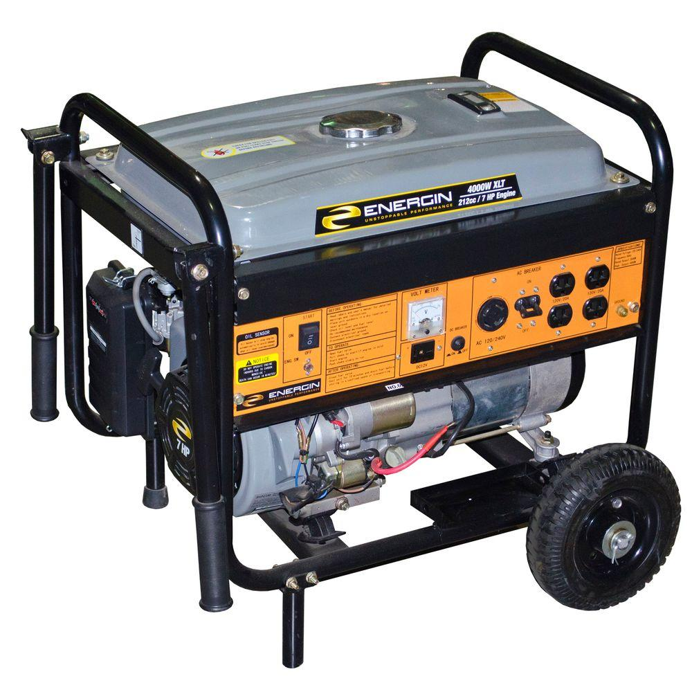 Energin 4,000-Watt XLT Gasoline Powered Electric Start Generator with Wheel Kit