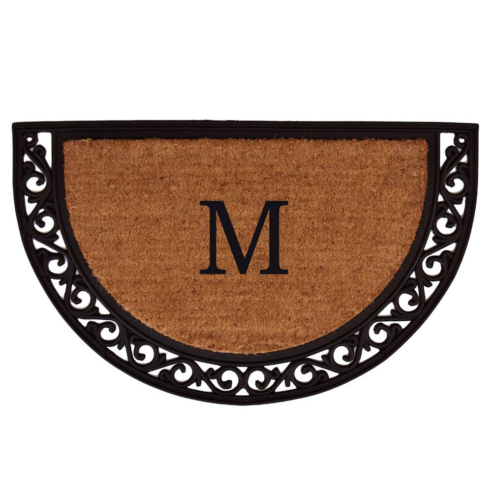 Ornate Scroll 24 in. x 36 in. Monogram M Door Mat