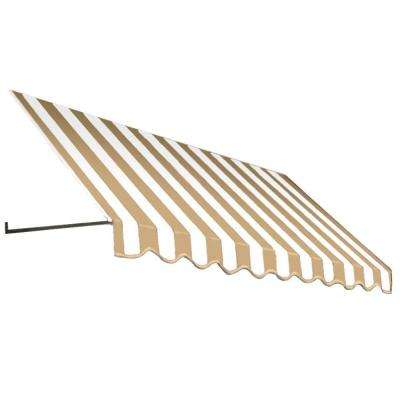 8 ft. Dallas Retro Window/Entry Awning (16 in. H x 30 in. D) in Linen/White Stripe
