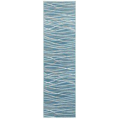 Grace Light Blue 2 ft. x 7 ft. Plush Indoor Runner Rug