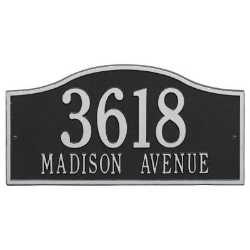 Rolling Hills Rectangular Black/Silver Grande Wall 2-Line Address Plaque