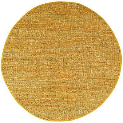 Gold Leather 6 ft. x 6 ft. Round Area Rug