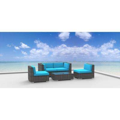 Rio 5-Piece Wicker Outdoor Sectional Seating Set with Sea Blue Cushions