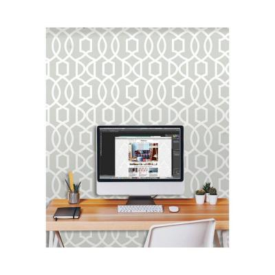 30.75 sq. ft. Grey Grand Trellis Peel and Stick Wallpaper