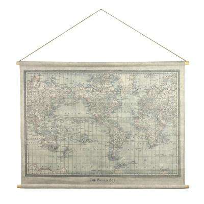 Vintage World Map Hanging Linen Tapestry