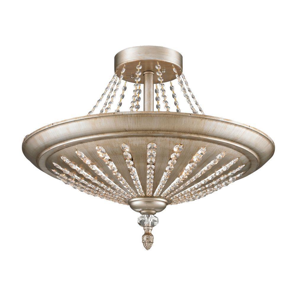 Titan Lighting Renee 9-Light Aged Silver Ceiling Semi-Flush Mount Light