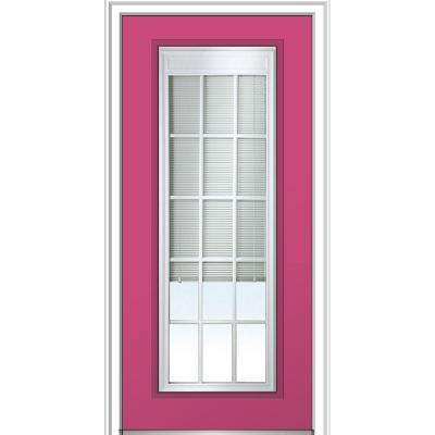 36 in. x 80 in. Internal Blinds and Grilles Right-Hand Inswing Full Lite Clear Low-E Painted Steel Prehung Front Door