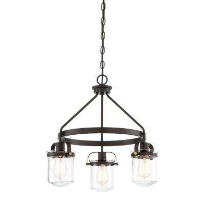 Jaxon 3-Light Oil Rubbed Bronze Interior Chandelier with Clear Glass Shade