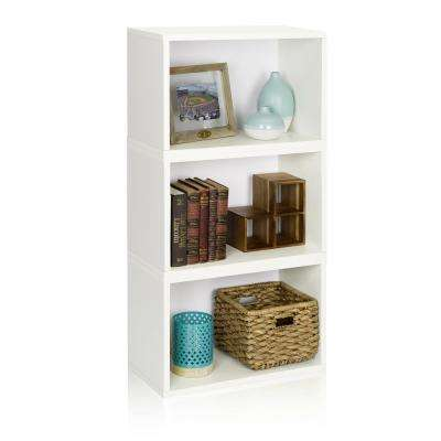 Hillcrest Eco zBoard Tool Free Assembly White Stackable Modular Open Bookcase