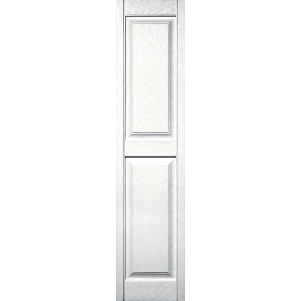 Builders Edge 15 in. x 63 in. Raised Panel Vinyl Exterior Shutters Pair in #117 Bright White