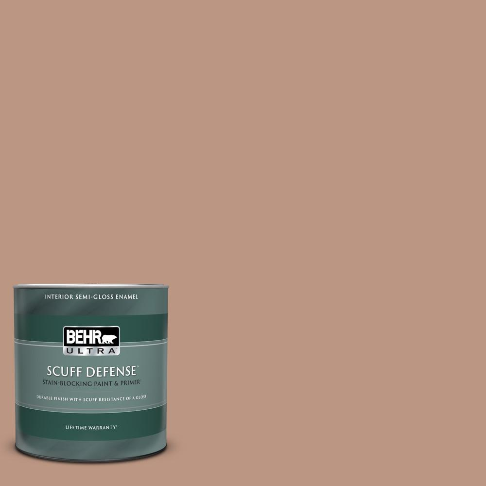 Behr Ultra 1 Qt S190 4 Spiced Brandy Extra Durable Semi Gloss Enamel Interior Paint And Primer In One 375404 The Home Depot