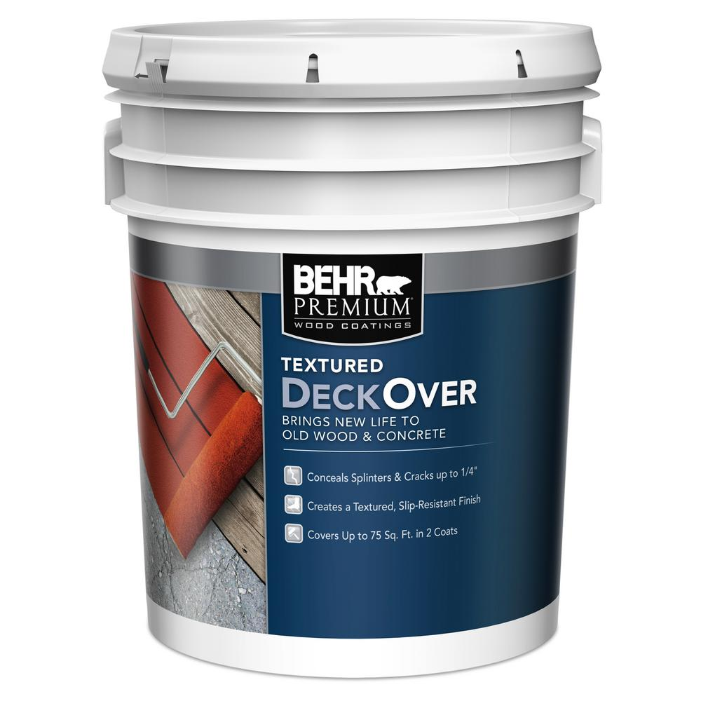 Behr Premium Textured Deckover 5 Gal Textured Wood And Concrete Coating 500505 The Home Depot