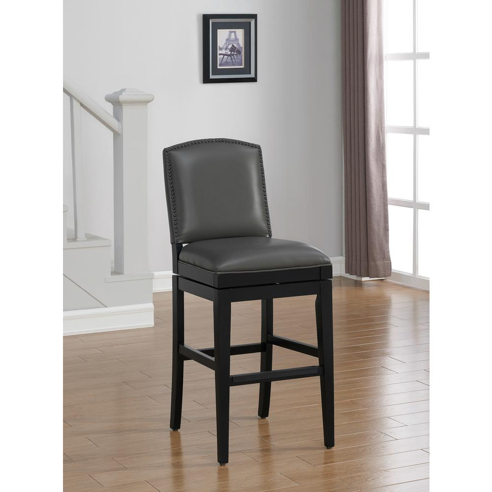 Great American Heritage Billiards Fortuna 26 In. Gray Swivel Cushioned Bar Stool