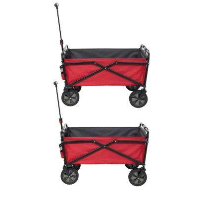 Collapsible Steel Frame Folding Utility Wagon Garden Cart in Red (2-Pack)
