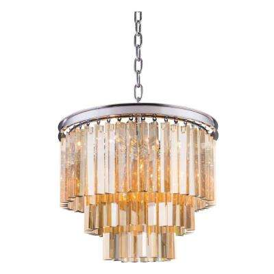 Sydney 9-Light Polished Nickel Chandelier with Golden Teak Smoky Crystal