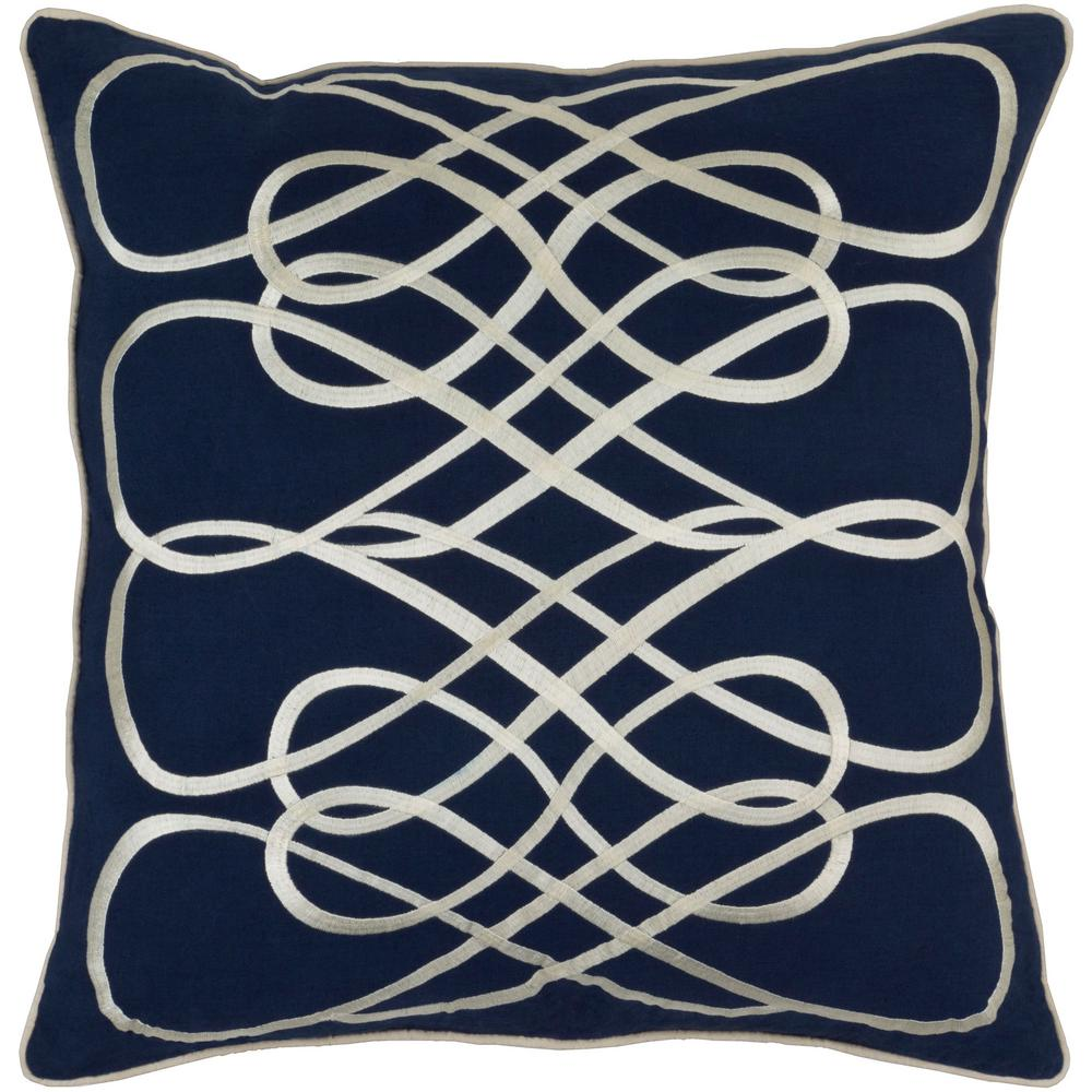 Bourdon Navy Geometric Polyester 22 in. x 22 in. Throw Pillow