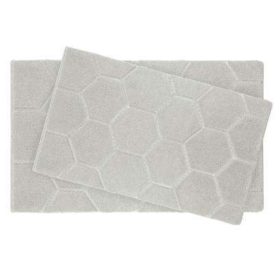 Pearl Honeycomb Cream Puff 2-Piece Bath Mat Set