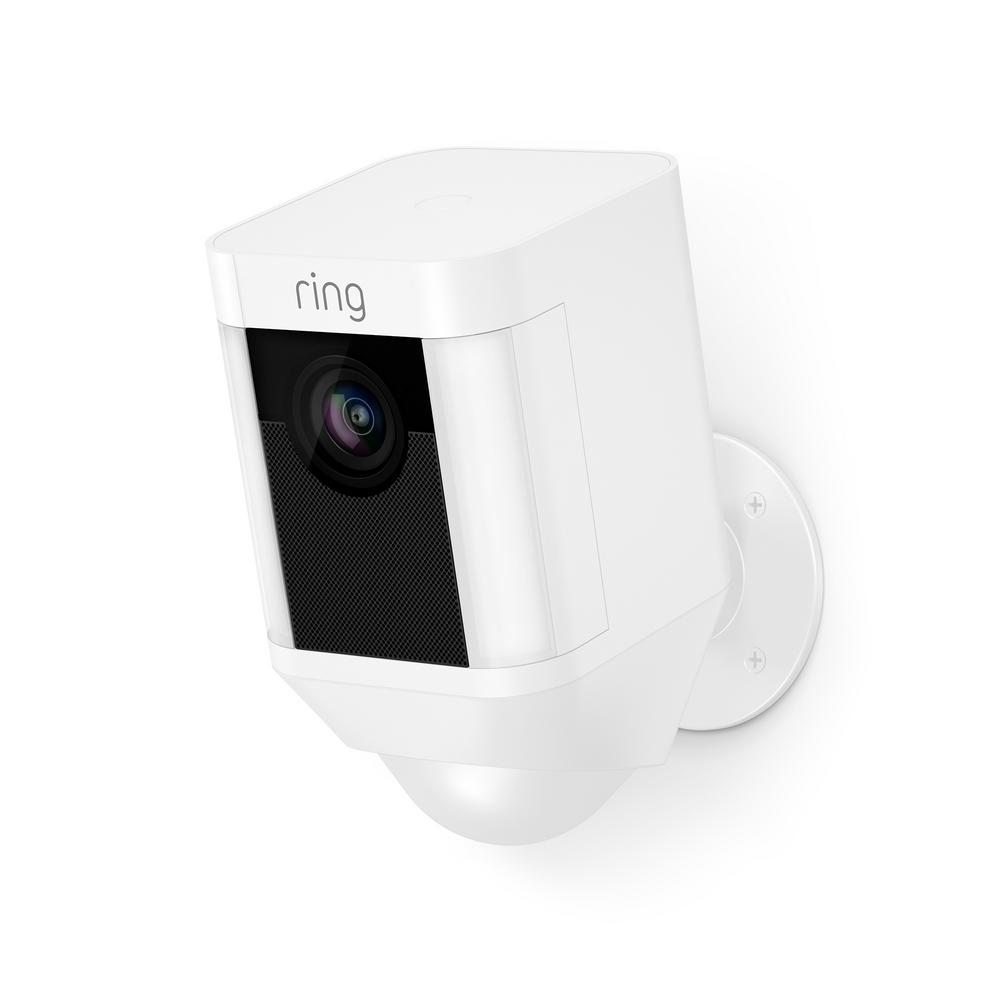 Ring Spotlight Cam Battery Outdoor Rectangle Security Wireless Standard Surveillance Camera in White