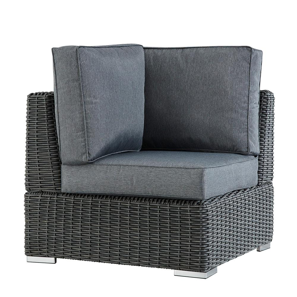 HomeSullivan Camari Charcoal Wicker Corner Outdoor Sectional Chair with Gray Cushion  sc 1 st  The Home Depot : corner sectional chair - Sectionals, Sofas & Couches